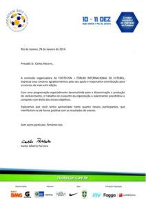 Carta de Agradecimento Footecon 2013- Carlos Alecrim